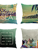 Set Of 4 Classic Mediterranean Summer Pillow Cover Creative Cotton/Linen Pillow Case