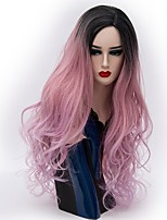 Women Synthetic Wig Capless Long Natural Wave Pink / Purple Ombre Hair Natural Wig Party Wig Halloween Wig Carnival Wig Costume Wigs