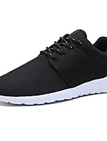 Men's Sneakers Comfort Spring Fall Tulle Casual Outdoor Lace-up Flat Heel Black Black/White 3in-3 3/4in
