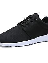 Для мужчин Кеды Удобная обувь Тюль Весна Осень Повседневные Шнуровка На плоской подошве Черный Черно-белый 7 - 9,5 см