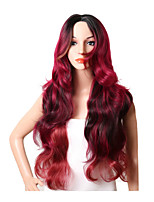 Ombre Red Wig For Black Women Long Body Wave Synthetic Hair Wig Naturally Hairline With Bangs High Temperature Heat Resistant Trendy Hairstyle