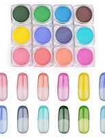 12PCS Pinpai Foreign Trade Explosions Single Temperature Powder Nail Polish Nail Magic Mirror Nail Powder Chameleon Temperature Glitter Green