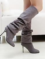 Для женщин Ботинки Удобная обувь Туфли лодочки Модная обувь Зима Натуральная кожа Полиуретан Повседневные Черный Серый Коричневый 4,5 - 7
