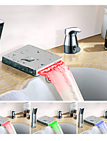 Color Changing Widespread Waterfall Multi-shade Single Handle Three Holes Bathroom Sink Faucet