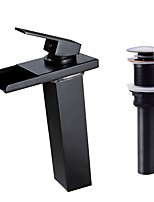 Centerset Waterfall with  Ceramic Valve One Hole for  Oil-rubbed Bronze , Bathroom Sink Faucet