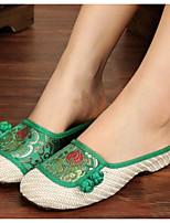 Для женщин Обувь Ткань Весна Удобная обувь Тапочки и Шлепанцы Назначение Повседневные Красный Зеленый Синий