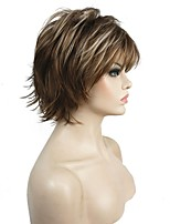Short Layered Shaggy Brown Highlights Full Synthetic Wigs Women's Wig