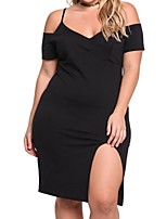Women's Plus Size Casual/Daily Work Simple Shift Sheath Dress,Solid V Neck Mini Above Knee Sleeveless Polyester All Seasons Low Rise
