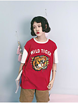 Women's Casual/Daily Vintage Summer T-shirt,Print Round Neck Short Sleeve Cotton