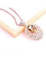 Women's Pendant Necklaces Rhinestone Oval Crystal Alloy Fashion Jewelry For Wedding Party Birthday Graduation Gift Daily