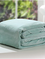 Coral fleece Solid Polyester/Cotton Blend Blankets