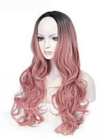 High Quality Long Wave Black To Pink Color Wig Fashion Sexy Women Wig Natural Hair Synthetic Wigs