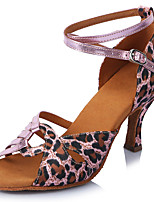 Women's Latin Satin Sandals Heels Professional Buckle Leopard Stiletto Heel Leopard 2