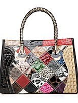Women Bags All Seasons Cowhide Tote with Split Joint for Event/Party Casual Formal Outdoor Office & Career Rainbow