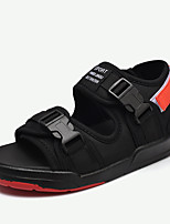Men's Sandals Comfort Summer Fabric Walking Shoes Casual Magic Tape Flat Heel Black/White Black/Red 2in-2 3/4in