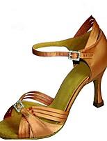 Для женщин Латина Шёлк Сандалии Концертная обувь С пряжкой На шпильке Лиловый Коричневый Темно-коричневый 7,5 - 9,5 см Персонализируемая