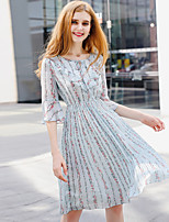 YHSPWomen's Going out Casual/Daily Simple Cute Sophisticated A Line Sheath Chiffon DressPrint Round Neck Midi Half Sleeve PolyesterSummer