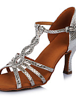 Women's Latin Leatherette Sandals Heels Professional Buckle Stiletto Heel Silver 2