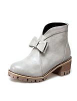 Da donna Stivaletti Comoda Stivali Stivaletti alla caviglia Finta pelle Autunno Inverno Casual Footing Fiocco Cerniera QuadratoNero