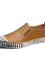 Для мужчин Мокасины и Свитер Удобная обувь Лето Осень Кожа Для прогулок Повседневные Комбинация материалов На плоской подошве Черный