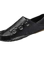 Для мужчин Мокасины и Свитер Удобная обувь Мокасины Микроволокно Весна Осень Повседневные На плоской подошве Черный Серый КоричневыйНа