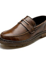 Men's Shoes Leather Spring Summer Fall Winter Comfort Loafers & Slip-Ons For Casual Black Gray Brown Red Blue
