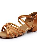 Women's Latin Silk Flats Indoor Buckle Customized Heel Brown Customizable