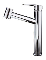 Contemporary Glam Chic & Modern CentersetCeramic Valve Single Handle One Hole for  Chrome , Bathroom Sink Faucet
