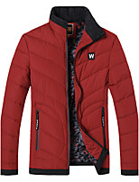 Men's Regular Padded Coat,Simple Going out Casual/Daily Solid Striped-Polyester Polyester Long Sleeves