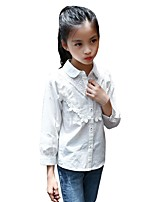 Girls' Print Embroidered Shirt,Cotton Fall All Seasons Long Sleeve Regular