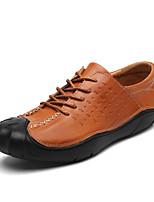 Men's Oxfords Comfort Summer Fall Cowhide Casual Outdoor Flat Heel Brown Black Flat