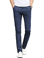 Men's Mid Rise Micro-elastic Chinos PantsSimple Straight Slim Solid UK-505
