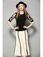 Damen Solide Stickerei Einfach Lässig/Alltäglich T-shirt,Rundhalsausschnitt Halbe Ärmel Baumwolle