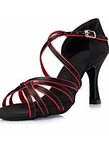 Women's Latin Silk Heels Indoor Ribbon Tie Stiletto Heel Black/Red 3