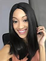 Femme Moyen Noir Raide Raie Centrale Cheveux Synthétiques Sans bonnet Perruque Naturelle