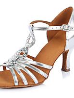 Damen Latin Leder Sandalen Absätze Professionell Verschlussschnalle Stöckelabsatz Silber 5 - 6,8 cm Maßfertigung
