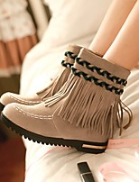 Women's Boots Comfort Fall Winter PU Casual Chunky Heel Brown Camel Burgundy 3in-3 3/4in