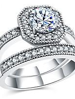 Band Rings Settings Ring 2pcs/set Luxury Euramerican Fashion Elegant Noble Geometric Birthday Wedding Movie Gift Jewelry