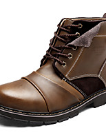 Men's Boots Combat Boots Real Leather Fall Winter Athletic Casual Outdoor Lace-up Flat Heel Brown Black Flat