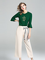 YIYEXINXIANGWomen's Going out Casual/Daily Simple Summer T-shirt Pant SuitsEmbroidery Round Neck  Length Sleeve