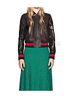 Для женщин Спорт На выход На каждый день Осень Зима Кожаные куртки Воротник-стойка,Уличный стиль Однотонный Обычная Длинный рукав,Другое,