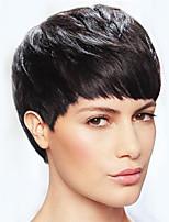 Простые изящные черные короткие прямые волосы человеческие волосы парики