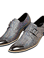 Men's Shoes Nappa Leather Fall Winter Formal Shoes Oxfords Metallic Toe For Casual Dress Party & Evening Office & Career Gold Silver