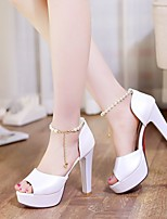 Women's Shoes Nubuck leather PU Spring Summer Comfort Heels For Casual White Beige Light Pink
