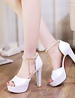 Mujer Zapatos Cuero Nobuck PU Primavera Verano Confort Tacones Para Casual Blanco Beige Rosa claro