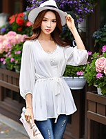 DABUWAWA Women's Beach Holiday Going out Casual/Daily Work Club Sexy Vintage Sophisticated Spring Fall BlouseSolid Off Shoulder 3/4 Length Sleeves