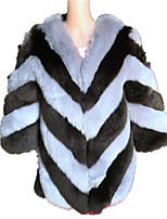 Для женщин На каждый день Осень Зима Пальто с мехом Круглый вырез,Простой Контрастных цветов Обычная Длинный рукав,Лисий Мех