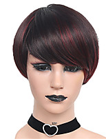 Short Black Mix Dark Wine Straight Wig for Women Costume Cosplay Synthetic Wigs