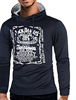 Men's Casual/Daily Simple Hoodie Print Letter Hooded Inelastic Cotton Polyester Long Sleeve Spring Fall