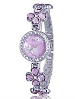 Жен. Модные часы Часы-браслет Кварцевый сплав Группа Цветы Повседневная Синий Серебристый металл Золотистый Розовый Фиолетовый